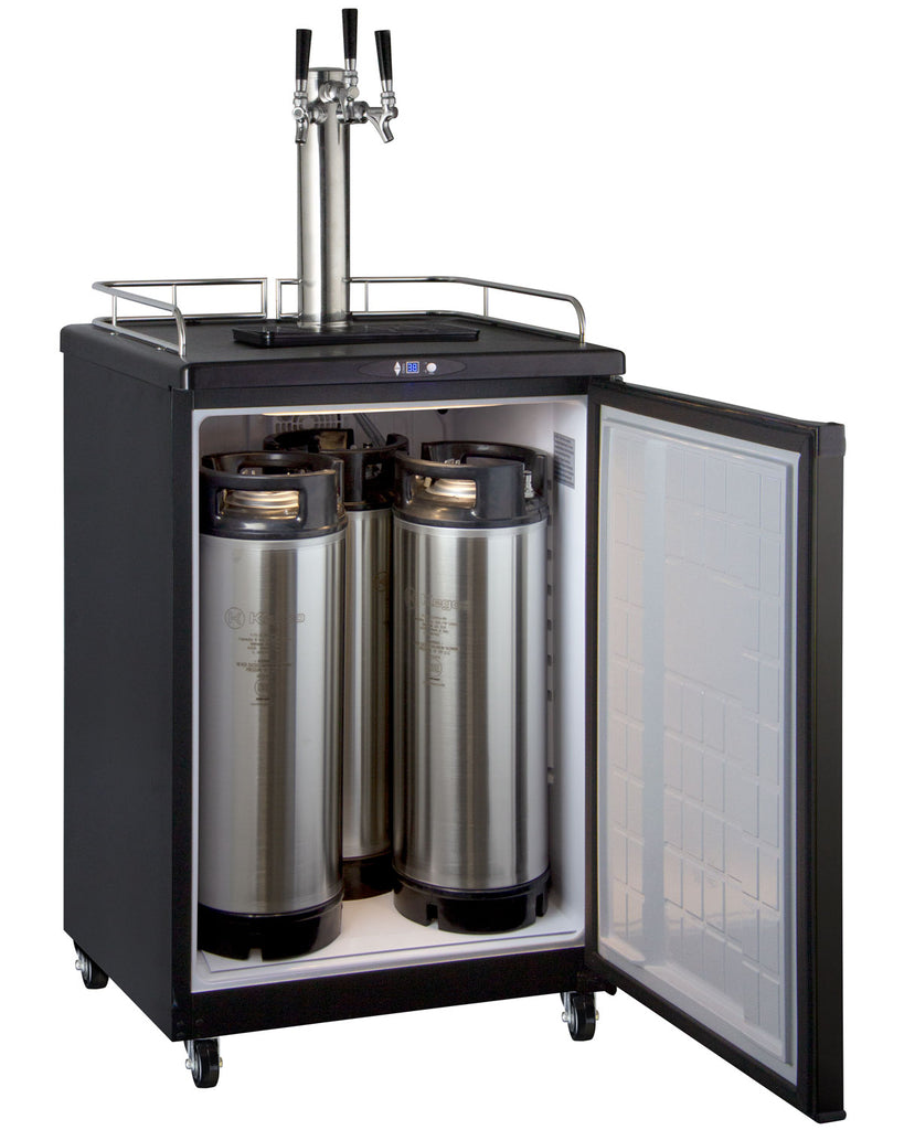 "Kegco HBK163B-3NK 24"" Wide Homebrew Triple Tap Black Commercial/Residential Kegerator"