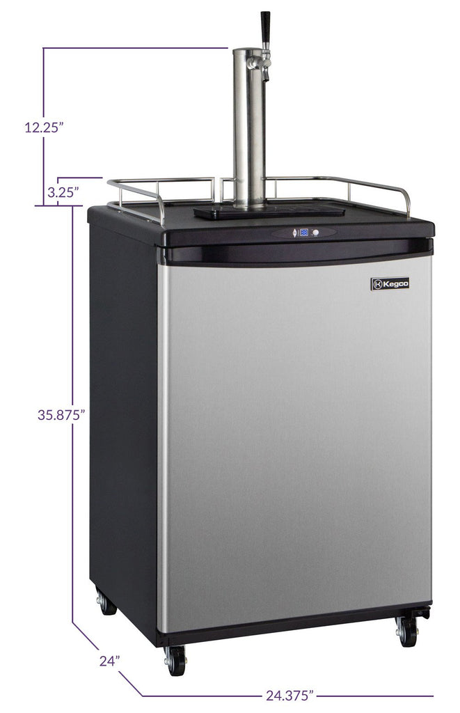 "Kegco HBK163S-1NK 24"" Wide Homebrew Single Tap Stainless Steel Commercial/Residential Kegerator"