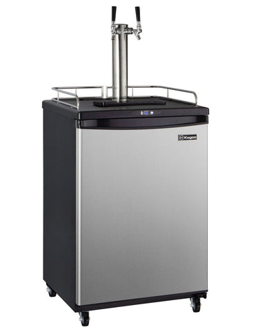 "Image of Kegco HBK163S-2NK 24"" Wide Homebrew Dual Tap Stainless Steel Commercial/Residential Kegerator"