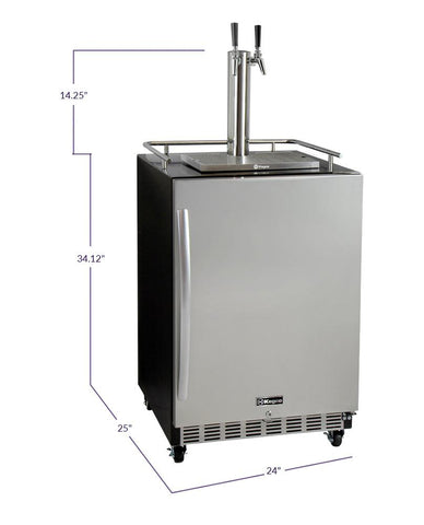 "Kegco HK38BSC-2 24"" Wide Dual Tap Stainless Steel Commercial Right Hinge Built-In Kegerator with Kit"
