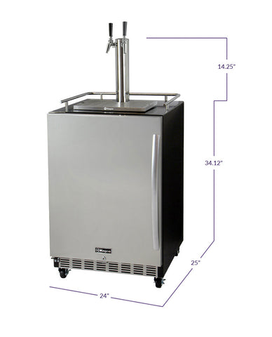 "Kegco HK38BSC-L-2 24"" Wide Dual Tap Stainless Steel Commercial Built-In Left Hinge Kegerator with Kit"