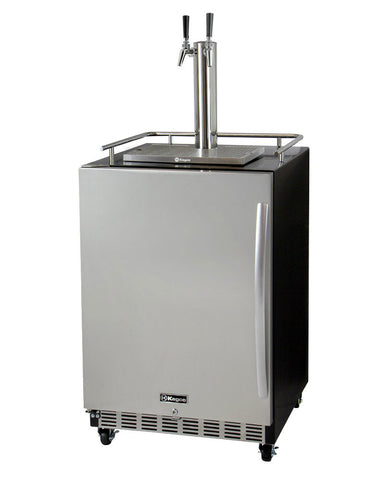 "Image of Kegco HK38BSC-L-2 24"" Wide Dual Tap Stainless Steel Commercial Built-In Left Hinge Kegerator with Kit"