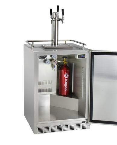 "Image of Kegco HK38SSU-L-3 24"" Wide Triple Tap All Stainless Steel Outdoor Built-In Digital Left Hinge Kegerator with Kit"