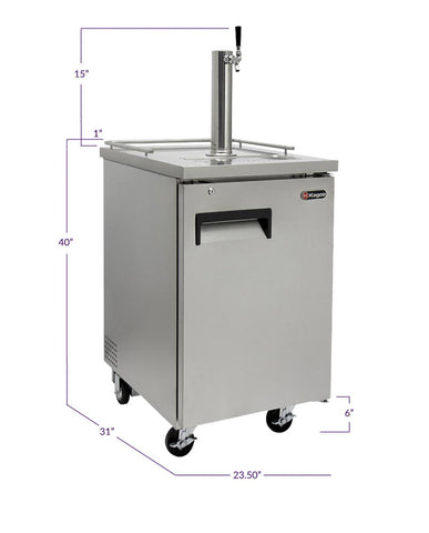 "Image of Kegco ICXCK-1S-1 24"" Wide Cold Brew Coffee Single Tap All Stainless Steel Commercial Kegerator"