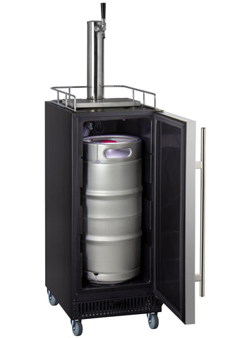 "Image of Kegco KOM15BSRNK 15"" Wide Kombucha Single Tap Stainless Steel Commercial Kegerator"