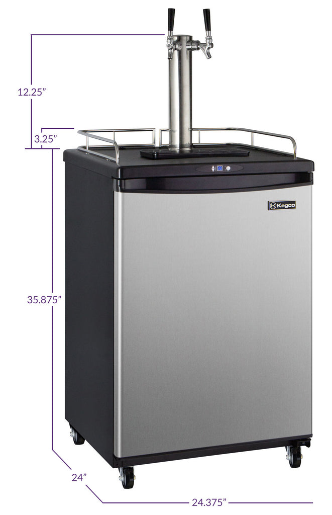 "Kegco KOM163S-2NK 24"" Wide Kombucha Dual Tap Stainless Steel Commercial/Residential Kegerator"