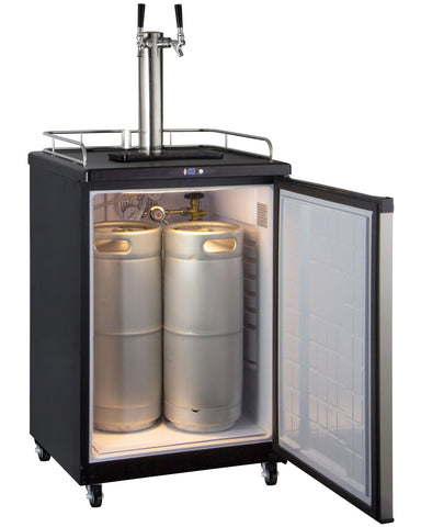 "Image of Kegco  Kegco KOM163S-2NK 24"" Wide Kombucha Dual Tap Stainless Steel Commercial/Residential Kegerator [sku]"