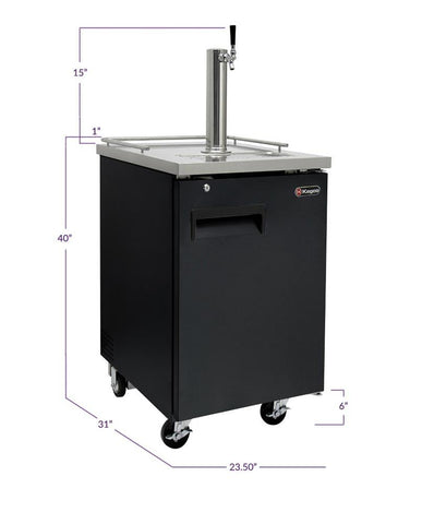 "Image of Kegco KOMC1B-1 24"" Wide Kombucha Single Tap Black Commercial Kegerator"