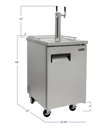 "Kegco KOMC1S-2 24"" Wide Kombucha Dual Tap All Stainless Steel Commercial Kegerator"