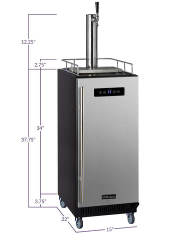 "Kegco  Kegco SLK15BSRNK 15"" Wide Single Tap Stainless Steel Commercial Kegerator [sku]"