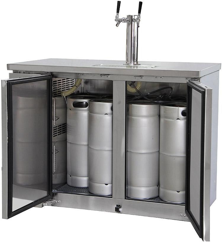 "Kegco XCK-2448S 49"" Wide Dual Tap All Stainless Steel Commercial Kegerator"
