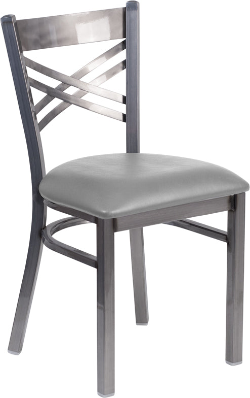 Flash Furniture HERCULES Series Clear Coated ''X'' Back Metal Restaurant Chair - Custom Upholstered Seat XU-6FOB-CLR-UNP-GG