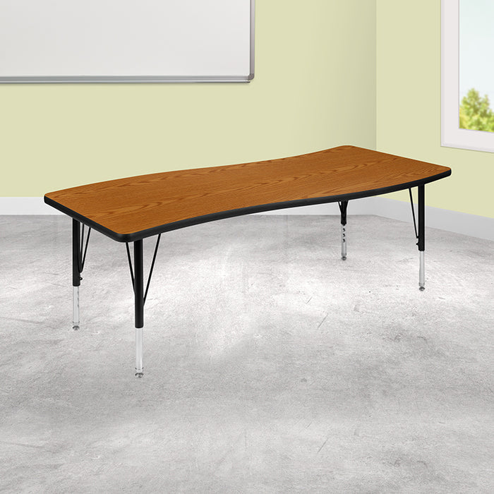 "26""W x 60""L Rectangular Wave Flexible Collaborative Oak Thermal Laminate Activity Table - Height Adjustable Short Legs [XU-A3060-CON-OAK-T-P-GG]"