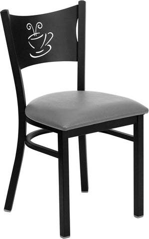 Flash Furniture HERCULES Series Black Coffee Back Metal Restaurant Chair - Custom Upholstered Seat XU-DG-60099-COF-UNP-GG