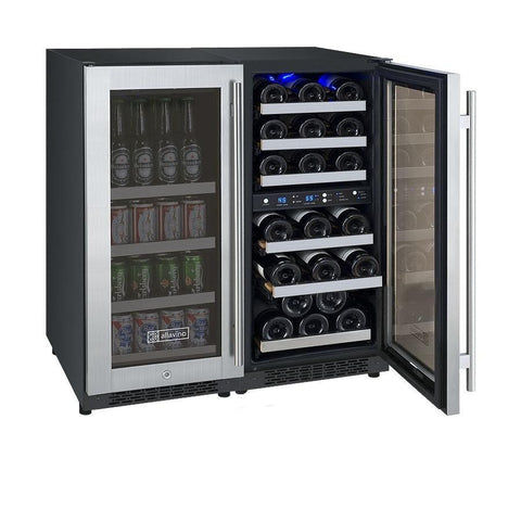 "Image of Allavino  Allavino 3Z-VSWB15-3S20 30"" Wide FlexCount II Stainless Steel Side-by-Side Wine Refrigerator/Beverage Center [sku]"