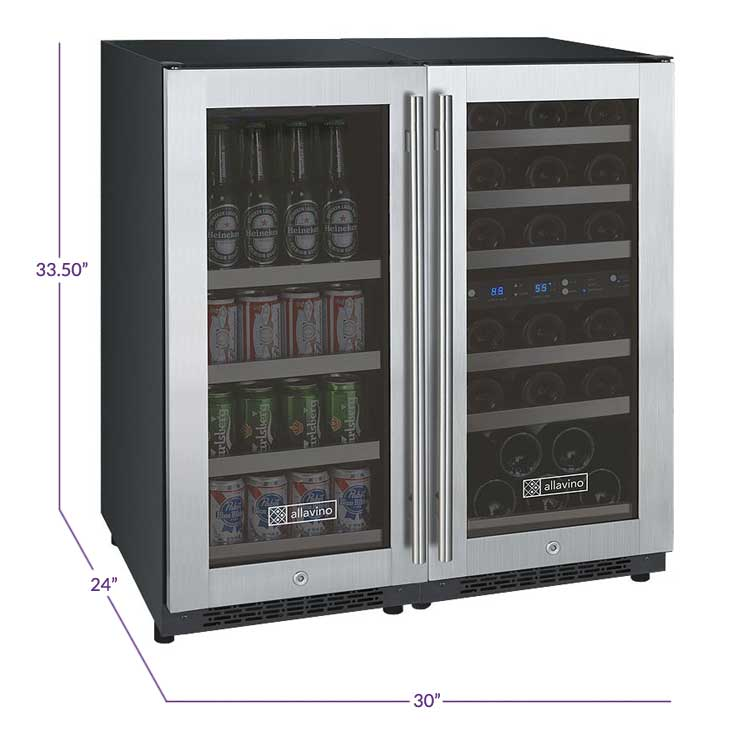 "Allavino  Allavino 3Z-VSWB15-3S20 30"" Wide FlexCount II Stainless Steel Side-by-Side Wine Refrigerator/Beverage Center [sku]"