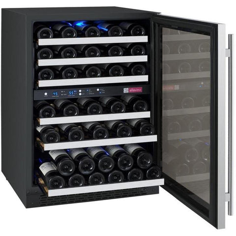 "Image of Allavino  Allavino VSWR56-2SR20 24"" Wide FlexCount II Tru-Vino Steel Right Hinge Wine Refrigerator [sku]"