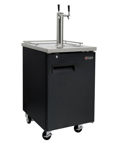 "Image of Kegco  Kegco HBK1XB-2 24"" Wide Homebrew Dual Tap Black Commercial Kegerator [sku]"