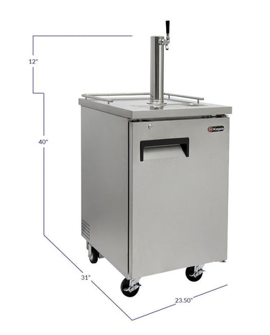 "Image of KegcoKegco HBK1XS-1 24"" Wide Homebrew Single Tap Stainless Steel Commercial KegeratorSingle Tap Kegerator"