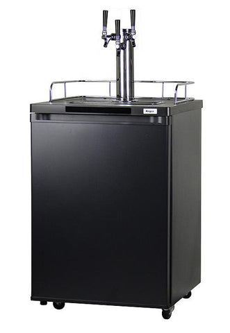 "Image of KegcoKegco HBK209B-3NK 24"" Wide Homebrew Triple Tap Black KegeratorTriple Tap Kegerator"
