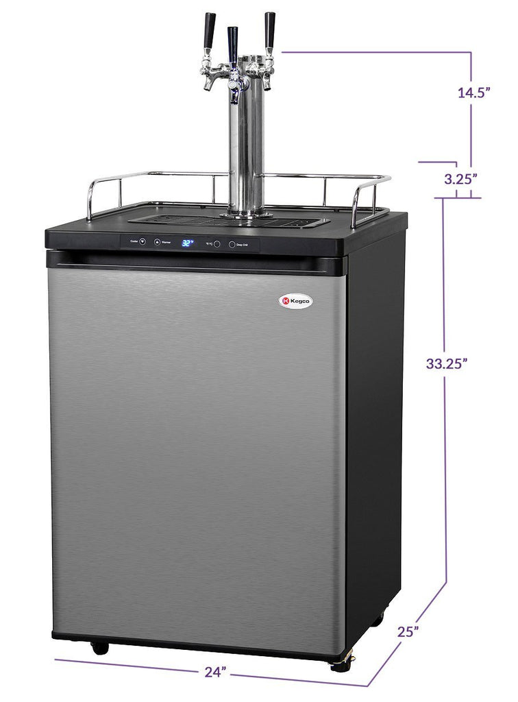 "KegcoKegco HBK309S-3NK 24"" Wide Homebrew Triple Tap Stainless Steel Digital KegeratorTriple Tap Kegerator"