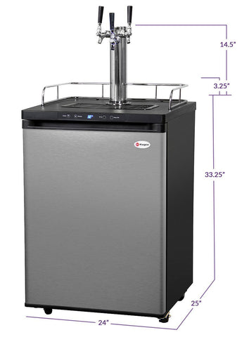 "Image of KegcoKegco HBK309S-3NK 24"" Wide Homebrew Triple Tap Stainless Steel Digital KegeratorTriple Tap Kegerator"
