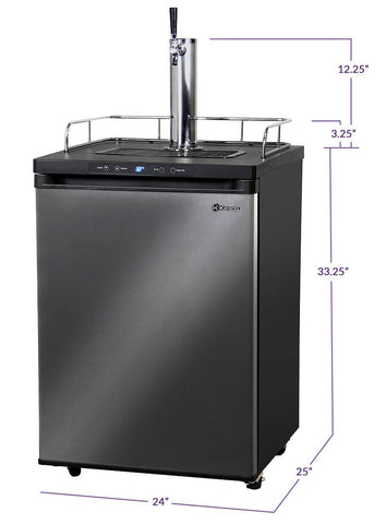 "Image of KegcoKegco HBK309X-1NK 24"" Wide Homebrew Single Tap Black Stainless Steel Digital KegeratorSingle Tap Kegerator"