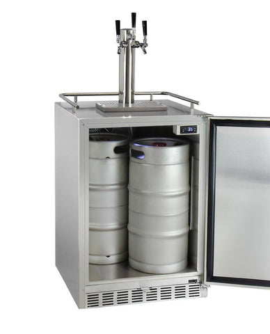 "Image of KegcoKegco HK38SSU-3 24"" Wide Triple Tap All Stainless Steel Outdoor Built-In Right Hinge Kegerator with KitTriple Tap Kegerator"