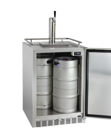 "Image of KegcoKegco HK38SSU-L-1 24"" Wide Single Tap All Stainless Steel Outdoor Built-In Left Hinge Kegerator with KitSingle Tap Kegerator"