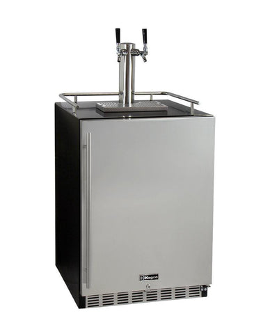 "Image of KegcoKegco ICHK38BSU-2 24"" Wide Cold Brew Coffee Dual Tap Black Commercial Built-In Right Hinge KegeratorDual Tap Kegerator"