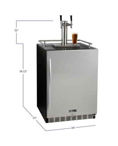 "Image of Kegco  Kegco ICHK38BSU-2 24"" Wide Cold Brew Coffee Dual Tap Black Commercial Built-In Right Hinge Kegerator [sku]"