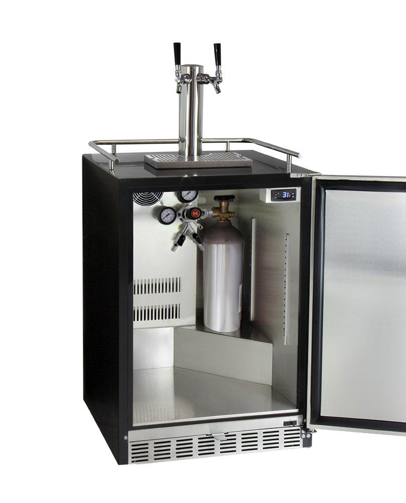 "KegcoKegco ICHK38BSU-2 24"" Wide Cold Brew Coffee Dual Tap Black Commercial Built-In Right Hinge KegeratorDual Tap Kegerator"