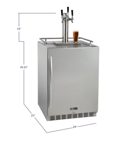 "Image of KegcoKegco ICHK38SSU-3 24"" Wide Cold Brew Coffee Triple Tap All Stainless Steel Outdoor Built-In Right Hinge KegeratorTriple Tap Kegerator"