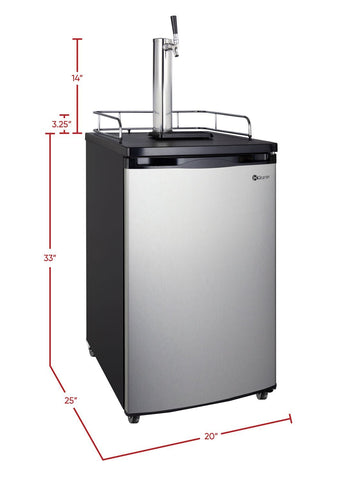 "Image of KegcoKegco ICK19S-1NK 20"" Wide Cold Brew Coffee Single Tap Stainless Steel KegeratorSingle Tap Kegerator"