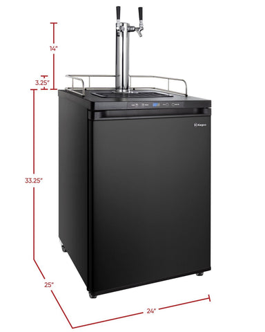 "Image of KegcoKegco ICK30B-2NK 24"" Wide Cold Brew Coffee Dual Tap Black Digital KegeratorDual Tap Kegerator"