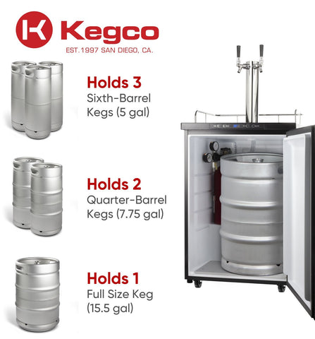 "Image of KegcoKegco ICK30S-2NK 24"" Wide Cold Brew Coffee Dual Tap Stainless Steel KegeratorDual Tap Kegerator"