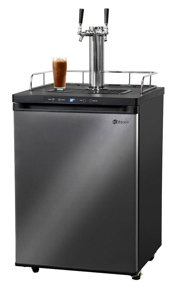 "KegcoKegco ICK30X-2NK 24"" Wide Cold Brew Coffee Dual Tap Black Stainless Steel KegeratorDual Tap Kegerator"