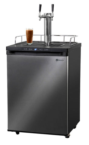 "Image of KegcoKegco ICK30X-2NK 24"" Wide Cold Brew Coffee Dual Tap Black Stainless Steel KegeratorDual Tap Kegerator"