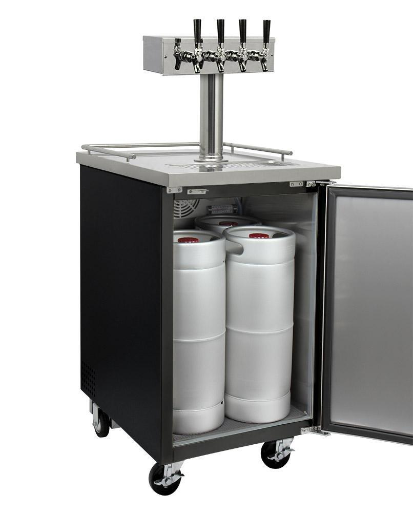 "KegcoKegco ICXCK-1B-4 24"" Wide Cold Brew Coffee Four Tap Black Commercial KegeratorFour Tap Kegerator"