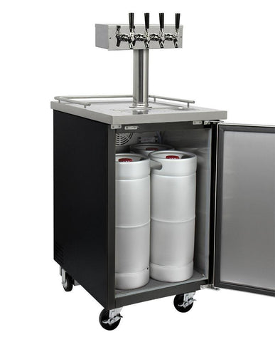 "Image of KegcoKegco ICXCK-1B-4 24"" Wide Cold Brew Coffee Four Tap Black Commercial KegeratorFour Tap Kegerator"