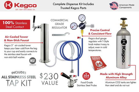 "Image of KegcoKegco K199SS-1NK 20"" Wide Single Tap Stainless Steel KegeratorSingle Tap Kegerator"