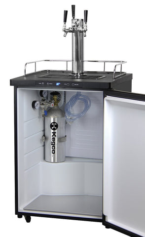 "Image of KegcoKegco K309B-3NK 24"" Wide Triple Tap Black Digital KegeratorTriple Tap Kegerator"