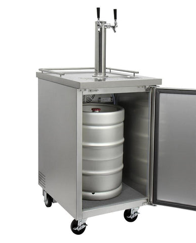 "KegcoKegco XCK-1S-2 24"" Wide Dual Tap All Stainless Steel Commercial KegeratorDual Tap Kegerator"