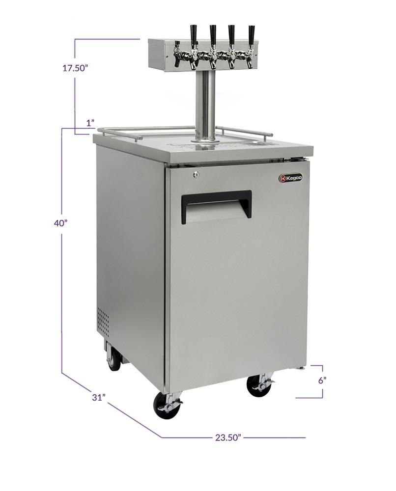 "KegcoKegco XCK-1S-4 24"" Wide Four Tap All Stainless Steel Commercial KegeratorFour Tap Kegerator"