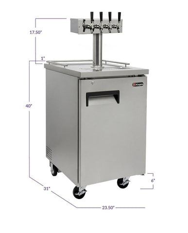"Image of KegcoKegco XCK-1S-4 24"" Wide Four Tap All Stainless Steel Commercial KegeratorFour Tap Kegerator"