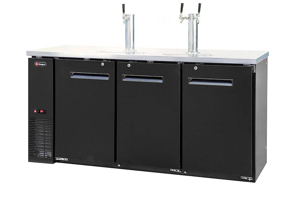 "Kegco XCK-2472B 72"" Wide Triple Tap Black Commercial Kegerator"