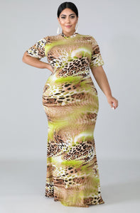 Leopard Lime Mermaid Dress