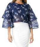 Flare Sleeve Crop Blouse
