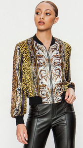 Vintage Cheetah Satin Bomber Jacket