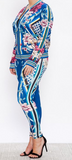 Blue Flowered Jogger Set